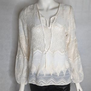 Cream Lace Blouse Sheer Size Small